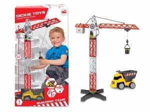 Dickie Spielzeug 203463337 - Set Gru Con Veicoli Del Cantiere, 67 Cm, Colore: Rosso/Bianco