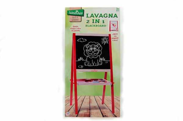 Legnoland- Lavagna In Legno H Con Gessi E Cancellino, Multicolore, 89 Cm, 35479