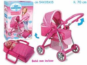 Teorema 70633 - Carrozzina Per Bambola, Con Porta Baby, In Metallo