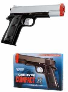 Villa Giocattoli 2850 - Pistola Air Soft Compact 22 Silver, Calibro 6 Mm, A Gas Ecologico
