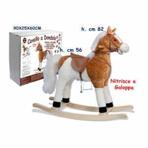 Teorema 36004 - Cavallo A Dondolo Con Suoni, Sella 56 Cm, Bianco/Marrone