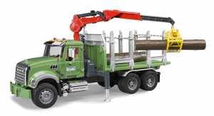Bruder 2824 - Mack Granite Trasporto 3 Tronchi Con Gru