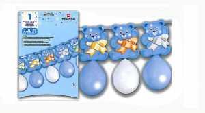 Festone Con Palloncini Orsetti Azzurro Nascita Battesimo