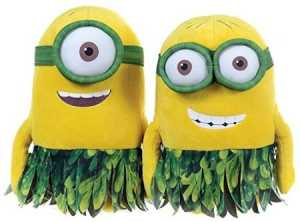 2 MINIONS PELUCHE CON GONNA HAWAI VERDE 28 CM