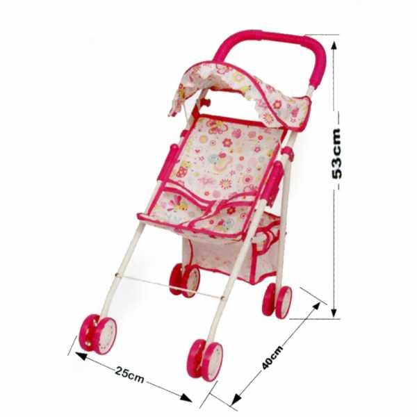 Passeggino Per Bambole Rosa In Metallo 4 Ruote Con Parasole