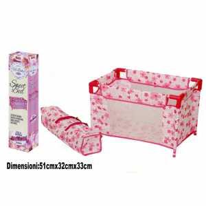 Box Lettino Pieghevole Per Bambole Con Custodia Borsa In Tessuto Con Fiori Rosa