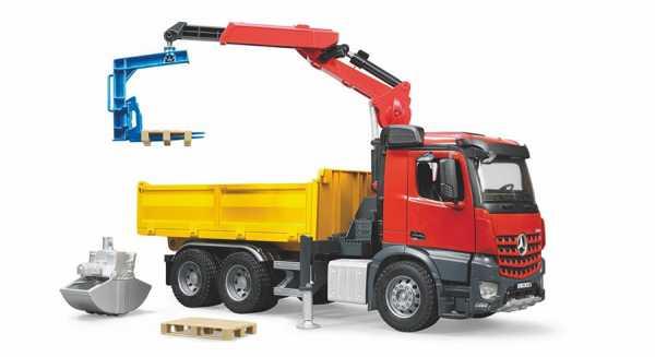Bruder 3651 - MB AROCS Camion Ribaltabile Con Gru