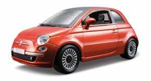 Bburago 18-22106 - 2007 Fiat 500 Modellino, Scala 1:24, Colori Assortiti: Bianco/Rosso