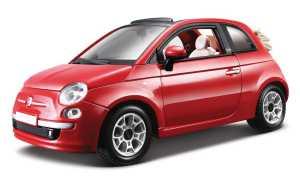 Bburago 18-22117 - Fiat 500C Cabriolet Modellino, Scala 1:24, Colori Assortiti: Bianco/Rosso