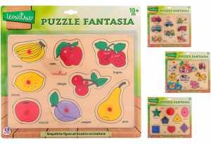 Globo Toys Globo–36625 4 Puzzle Di Legno Assortiti Con Bottoni, Legnoland, 29,8x 22,4x 0,8cm