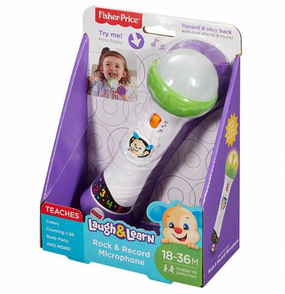 Fisher Price Microfono Baby Rock, Giocattolo Per Imparare Cantando Con 2 Modalità Di Gioco, Per Bambini 18 + Mesi, Multicolore, FBP33