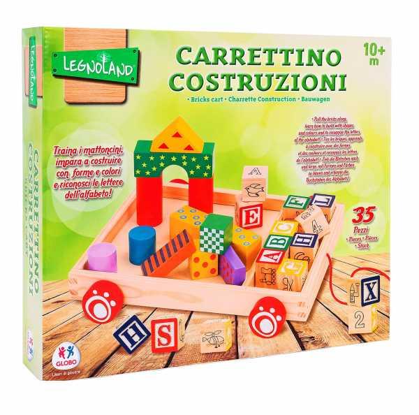 Legnoland- Carretto Trainabile Legno Con 12 Cubi/23 Costruzioni, Multicolore, 37771