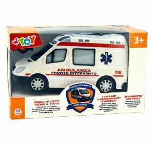 W'TOY- Ambulanza B/O Movimento Mistero Luci Suoni, Multicolore, 38188