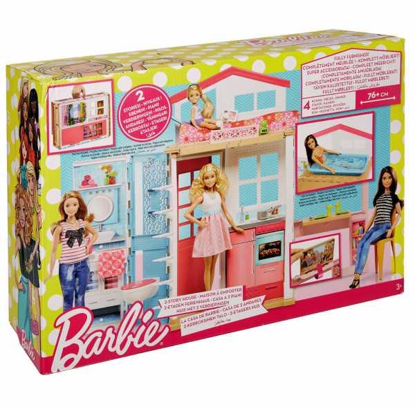 Barbie Casa Componibile Con 2 Piani E Tanti Accessori Trasformabili,, DVV47