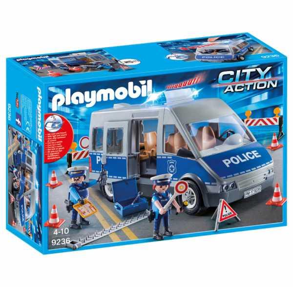Playmobil 9236 - Furgone Della Polizia Con Posto Di Blocco