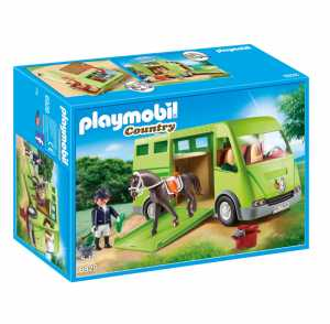 Playmobil Country 6928  Furgone Per Il Trasporto Dei Cavalli Con Holsteiner E Cavaliere Con Divisa Da Addestramento, Dai 5 Anni