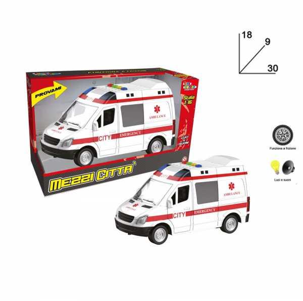 Toys Garden Srl- Ambulanza Frizione L/S Cm.30 26649, Multicolore, 851062
