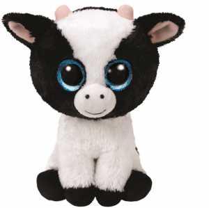TY, 36841Beanie Boo S Butter, Mucca Con Occhi Brillanti, 15cm, Colore: Bianco/nero