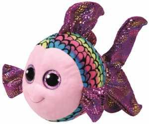 TY 37150Beanie Boo S Flippy Pesce Con Occhi Brillanti, 24cm, Multicolore