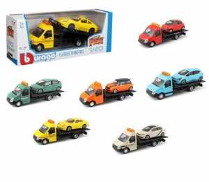 Bburago Carro Attrezzi Con Auto 1:43 Flatbed Transport Street Fire Colori Assortiti Sogg.Causale