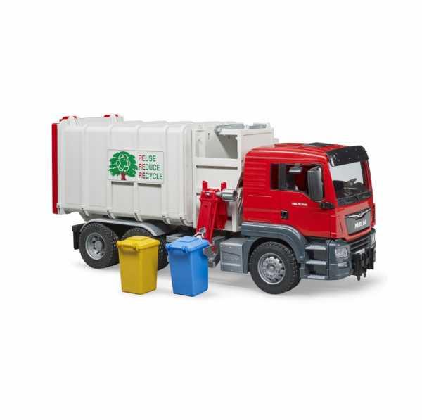 Bruder–03761–Camion Pattumiera Man TGS Con 2pattumiere–Rosso