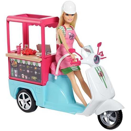 Barbie Scooter Street Food Con Accessori Realistici, FHR08