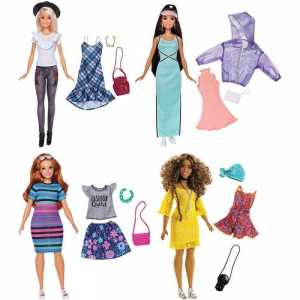 Barbie- Fashionistas Motivo Floreale E Catena, Multicolore, FRY79