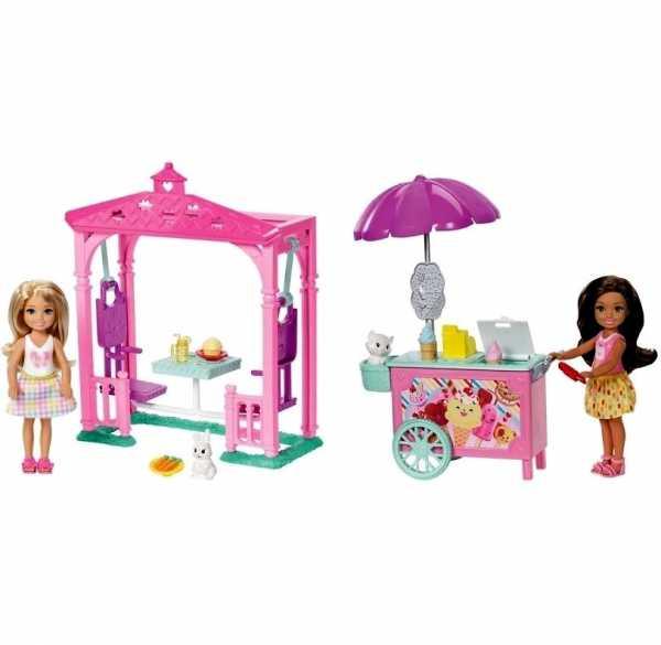 Barbie Club Bambola E Tavolo Da PIC Nic Con Sedie Ad Altalena, Bambolina Chelsea E Coniglietto,, FDB34