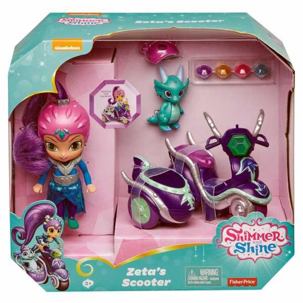 Shimmer & Shine FHN31 - Grande Bambola Di Zeta Con Scooter E Nazboo 3+ Anni