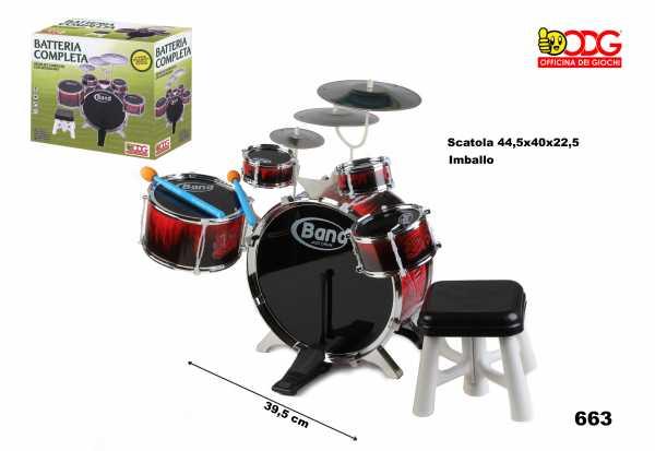 ODG Percussione Batteria Musicale Completa Grande Odg663 Giocattolo Bambini, Multicolore, 8056045596635
