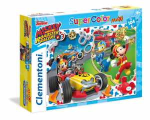 Clementoni 23709 - Maxi Puzzle Mickey Roadster Racers, 104 Pezzi