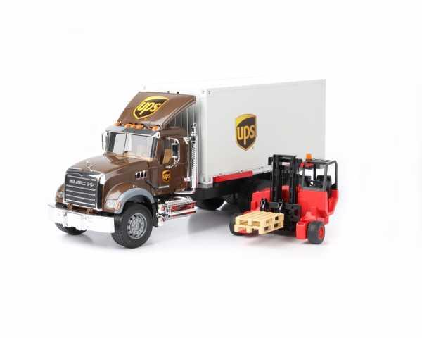 Bruder Spielwaren Gmbh + Co.Kg- Camion Mack Granite Bruder Comm Ups Container Con Mulet 02828, Multicolore, 837288