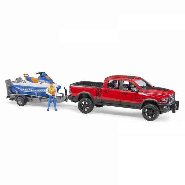 Bruder (02503) - AUTO RAM 2500 POWER WAGON RIMORCHIO MOTO ACQUA