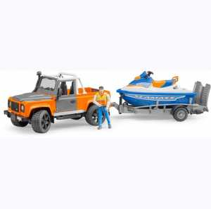 Bruder 02599 – Land Rover Defender Con Rimorchio, Scooter Di Mare E Personaggio