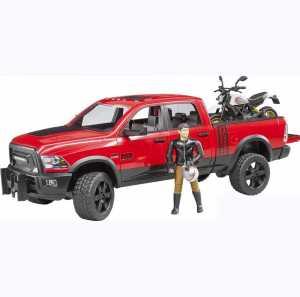 Bruder–02502–Veicolo RAM 2500Power Wagon Con Moto Scrambler Ducati Desert Sled E Personaggio