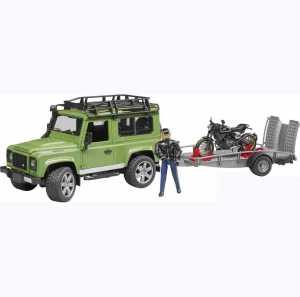 Bruder–02598–Land Rover Defender Con Rimorchio, Moto Scrambler Ducati Cafe E Personaggio–Verde