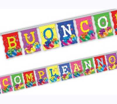 FESTONE BANDIERA BUON COMPLEANNO - Pegaso (Pb923)