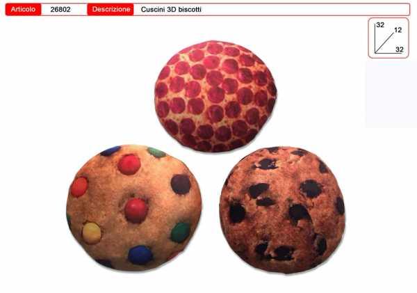 CUSCINO 3D PIZZA E BISCOTTI 3 MODELLI CM 32 - Toys Garden (26802)