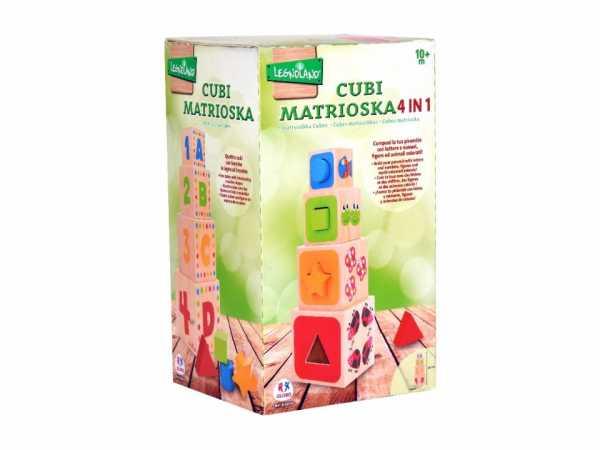 Globo - Set Di 8 Cubi In Legno ABC Stacking (38916), Multicolore