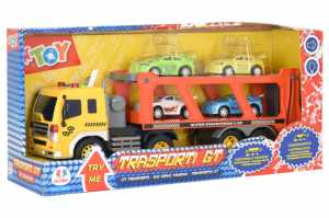 Globo, 1 16 Trailer Truck B/O W/4 Cars Try-Me (38954), Multicolore