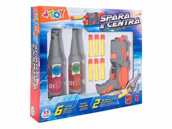 Globo, Shoot Game W/Soft Bullets/2 Bottles (38505), Multicolore (1)