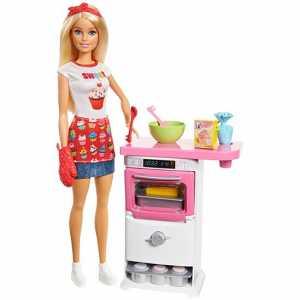 Barbie Playset Pasticceria Bambola Con Forno E Dolci Che Lievitano E Cupcake Cambia Colore,, FHP57