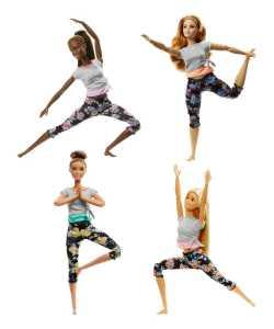 Barbie Bambola Snodata, 22 Punti Snodabili Per Tanti Movimenti, Top Grigio/Viola, FTG83