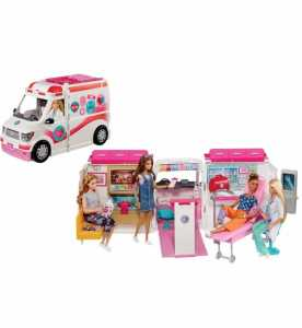 Barbie Ambulanza, Trasformabile In Clinica Mobile Con 3 Stanze E Tanti Accessori, Sirena Funzionante, Bambola Non Inclusa, Giocattolo Per Bambini 3 + Anni, FRM19