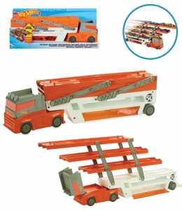 Hot Wheels Mega Trasportatore Camion Giocattolo Per Macchinine Con Sei Livelli Espandibili, Trasporta Fino A 50 Veicoli, Colore Rot, FTF68