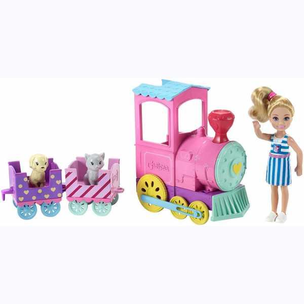 Barbie Club Chelsea Bambola E Trenino Con 3 Vagoni Agganciabili, 1 Gattino E 1 Cagnolino Inclusi, FRL86