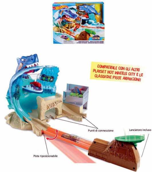 Hot Wheels Mega Playset Sfida Lo Squalo Per Macchinine Con Un Lanciatore A Forma Di Capanno Esotico, Gioco Per Bambini Di 4 + Anni, Colore Altro, Norme, FNB21