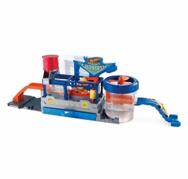 Hot Wheels Autolavaggio Playset Per Macchinine Con Un Nastro Trasportatore Automatico E Tecnologia Cambia Colore, Design Anti-Schizzi, 4 - 8 Anni, FTB66