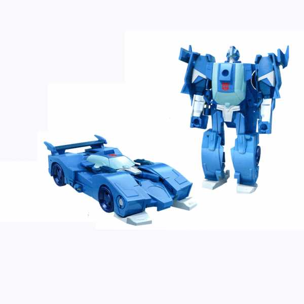 Transformers Cyberverse Aggressori Azione: 1-Step Changer BLURR Action Figure Transformers - Robots In Disguise - Combiner Force - Strongarm/Optimus Prime Blu - Hasbro