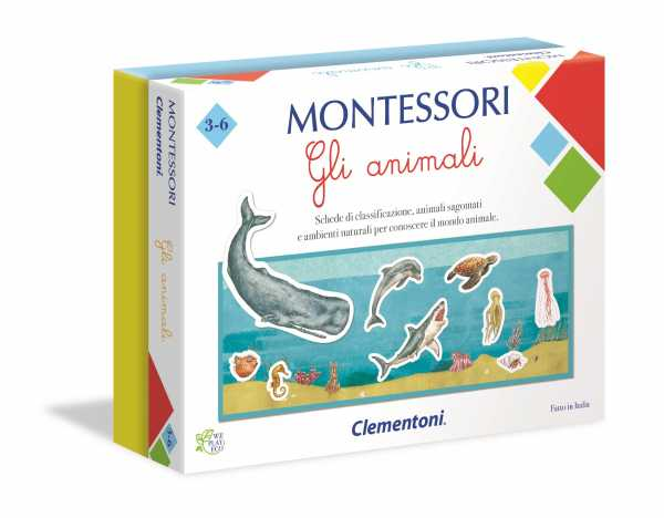 Clementoni-16100-Montessori-Gli Animali, Gioco Educativo, Multicolore, 16100